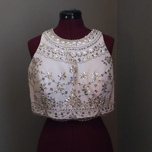 Tops - Handmade White Formal Top with Silver Beading